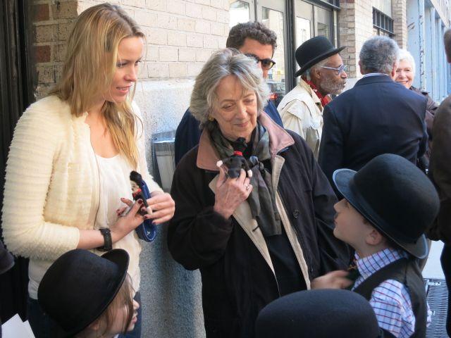 9-year-old silent comedy fan Shane Fleming talking to Kiera Chaplin and Oona O'Neill Chaplin biographer Jane Scovall