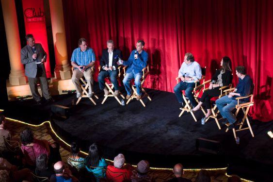 """Meet TCM"" (L-R) Scott McGee, Sean Cameron, Tom Brown, Charlie Tabesh, Jeff Gregor, Pola Changnon, and Richard Steiner."