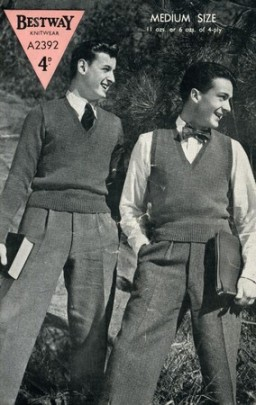 1940's mens knit fashion, Bestway, pullover