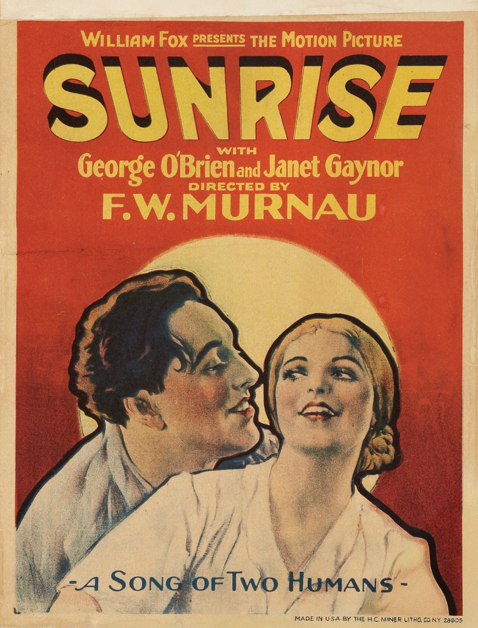 Sunrise Janet Gaynor 1927 vintage movie poster #2